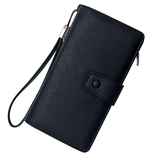 Womens Large Capacity RFID Blocking Leather Wristlet Clutch Wallets Card Holder (PU Black)