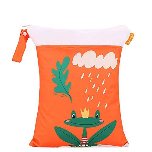 BIGBOBA Baby Wickeltasche Cartoon Muster Aufbewahrungstasche wasserdicht atmungsaktiv Reißverschluss Tasche Familie im Freien Baby Produkte 30 * 40cm, Frosch