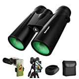 12x42 Binoculars for Adults with Smartphone Adapter - 18mm Large View Eyepiece & Clear Dim Light Vision - Lightweight Binoculars for Birds Watching Hunting Travel
