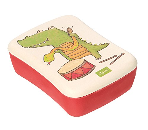 sigikid, Mädchen und Jungen, Bambusbrotdose, Krokodil Green, Rot, 25048