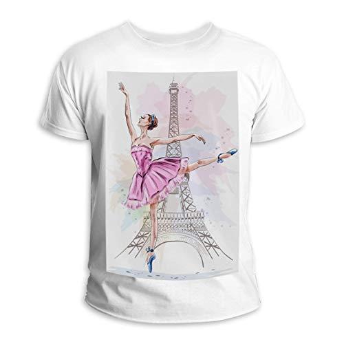 Lorvies Ballerina, Eiffelturm, Ballett, Tanz, Mädchen, Unisex, kurzärmlig, aus Baumwolle, für Männer und Frauen Gr. XL, mehrfarbig