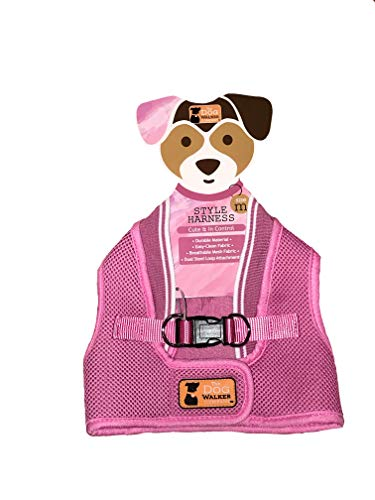 The Dog Walker Company Reflector Accent Harness | Medium 15-20 Lbs (Pink with White Trim)