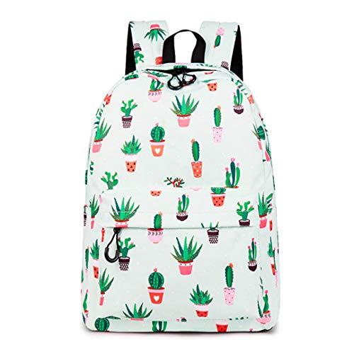 Mochila De PoliéSter Impresa De Cactus Resistente Al Agua, PortáTil De 14 Pulgadas, para Mochilas Adolescentes