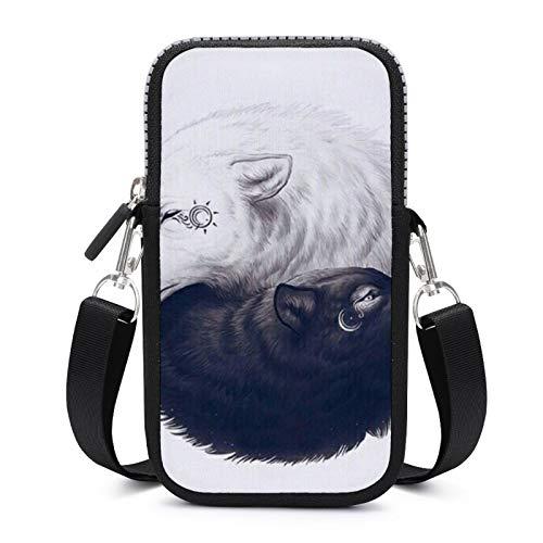 Borsa per cellulare Crossbody con tracolla rimovibile Wolf Ying-yang Custodia impermeabile per chiave bracciale portafoglio borse all'aperto ragazzi