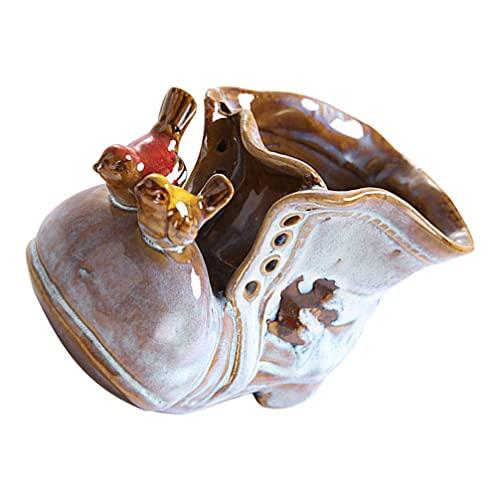 YARNOW Boot Flower Planter Macetas de Cerámica Cartoon Bird Shoe Suculentas Plantador Maceta Figurita Porcelana Cenicero Lápiz Maquillaje Cepillo Titular de Escritorio