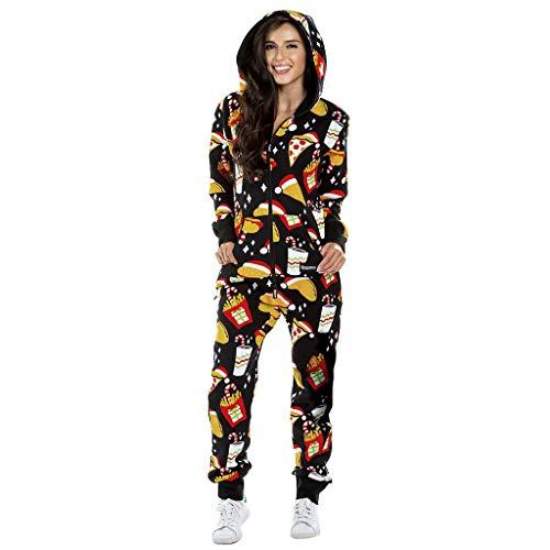 Atezch Women Christmas Jumpsuits,Funny Print One Piece Pajamas Long Sleeve Hooded Zipper Adult Nightwear Jumpsuit Sleepwear (Black, M)