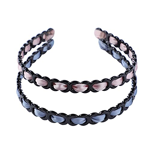 Satin Covered Headbands for Women Plastic Headbands with Teeth Black Thin Elastic Hair Hoop 2 Pack Head Bands No Slip Fashion Hair Band Makeup Hair Accessories for Women Girls