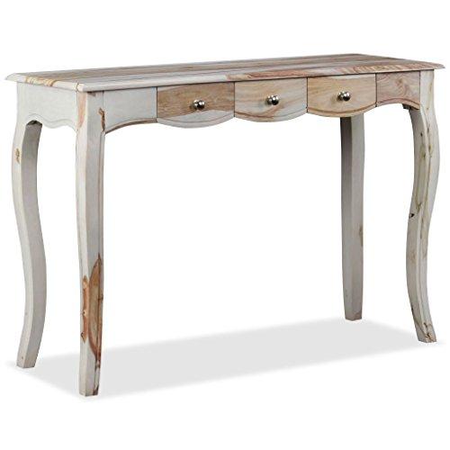 vidaXL Sheesham-Holz Massiv Konsolentisch mit 3 Schubladen Konsole Beistelltisch Sideboard Flurtisch Ablagetisch Frisiertisch Holztisch 110x40x76cm