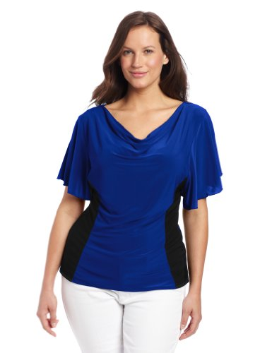 Star Vixen Women's Plus-Size Flutter Sleeve Colorblock Top, Cobalt/Black, 1X