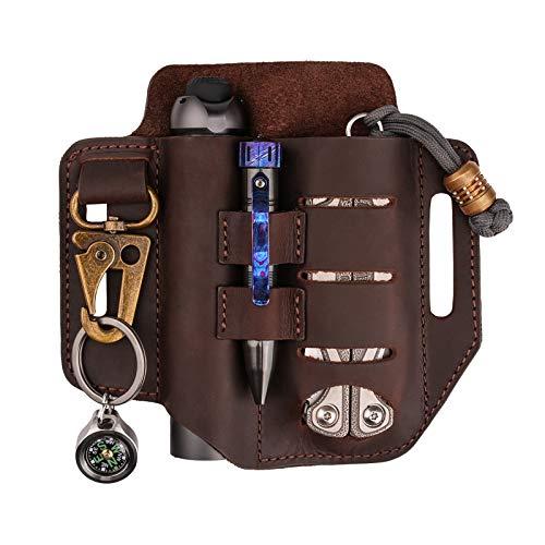 VIPERADE PJ13 Plus Leder EDC lederscheide Tasche Organizer Leder Taktischer Multitool Halter Leder Tasche mit Schlüsselbund Stifthalter für Taschenlampe Werkzeuge Outdoor Camping Mini Tools - Braun