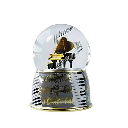 ACAMPTAR Bo?Te à Musique Bo?Te à Musique CréAtive Boule de Cristal avec Flocon de Neige Tournant Bo?Te à Musique Boule de Neige (Piano)