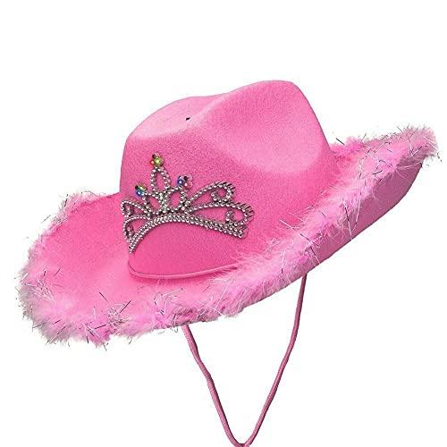 XCSM Rosa Cowboyhut mit LED Tiara für Frauen Mädchen Erwachsene Country Western Filz Cowboyhut Halloween Kostüm Party Kostüm Zubehör