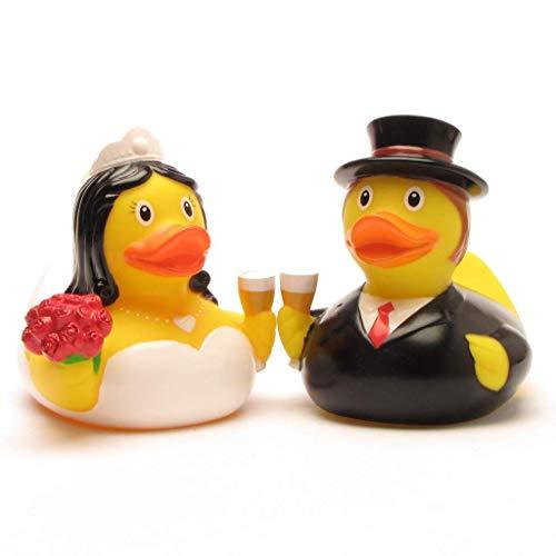 DUCKSHOP I Brautpaar Mini Quietscheente I Badeente I L: 4,5 cm - inkl. Badeenten-Schlüsselanhänger im Set