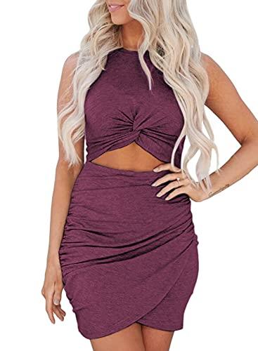 Maavoki Kleider Damen Einfarbiges Ärmelloses Kleid, Sexy Enges Kleid Unregelmäßig Cocktailkleid Partykleider, Slim Fit Rundkragen Sommerkleid für Frauen (Rot, S)