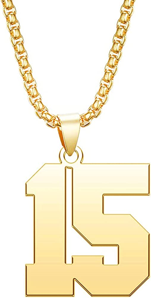 MZC Jewelry Gold Number Necklace for Men Boys Personalized Custom Lucky Stainless Steel Jersey Baseball/Soccer/Football/Basketball Number Chain Pendant for Soprts Fan Unisex