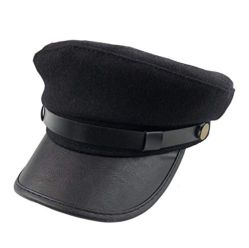 NARAMAX 1PCS Black Chauffeur Hat Driver Hat Costume Hats Doorman Hats Fishermans Hat Cap for Men and Women(Black)