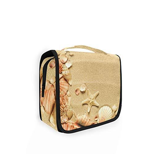 RELEESSS - Bolsa de aseo para viaje con diseño de estrellas de mar y arena