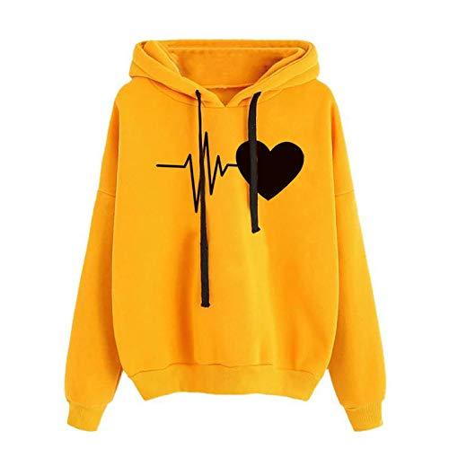 Sudaderas con Capucha Mujer,Sudadera Mujer Hoodie Sweatshirt Blusa con Bolsillo Color sólido Sudadera Adolescentes Chica Estampado Manga Larga Pullover Abrigo Jersey Mujer Otoño-Invierno Camiseta