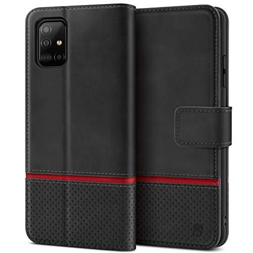 BEZ Handyhülle für Samsung A51 Hülle, Samsung Galaxy A51 Hülle Tasche Schutzhüllen Kompatibel mit Samsung A51, Schützende Brieftasche mit Kartenfächern, Kick-Ständer, Magnetverschluss, Schwarz