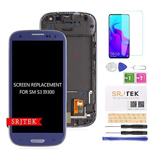 srjtek para S3 I9300 Reemplazo De Pantalla LCD Pantalla TFT LCD Pantalla Táctil Conjunto De Digitalizador para Samsung Galaxy S3 2012 I9300 I9305 I9305T Kit De Piezas ?+ Marco? (Azul)