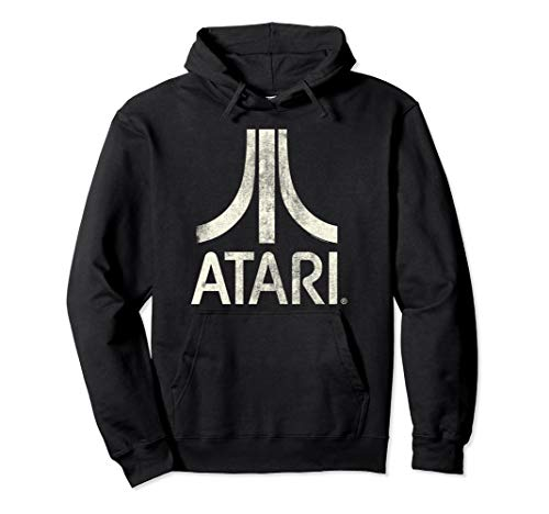 Atari Classic Distressed Logo Hoodie, Officially Licensed, Adults Unisex S to 2XL