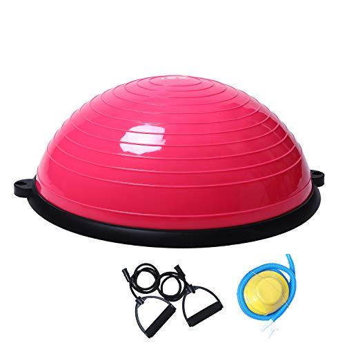 ISE Ø62 cm Balance Trainer Balance Ball Trainingshalbball mit Pumpe und 2 Zugbändern beidseitig nutzbar für Yoga Gymnastik,GS-geprüft BAS1001