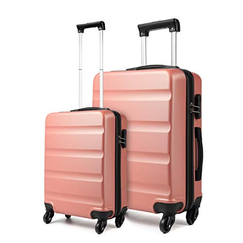 Kono ABS Hard Shell Luggage Sets of 2 Lightweight Travel Trolley Suitcase (Cabin+Large, Nude)