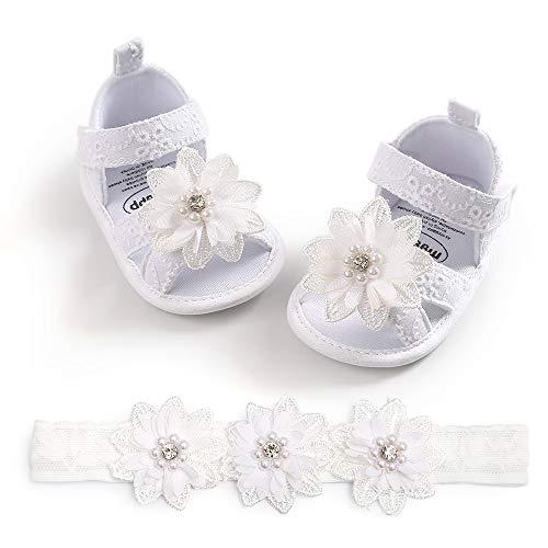 Babyschuhe, Baby Mädchen Prinzessin Schuhe Stirnbänder Geschenkset | Anti-Rutsch&Weiche Sohle | Säugling Pailletten Bowknot Blumen Krippe Schuhe Lauflernschuhe Hausschuhe Taufe Hochzeit Schuhe