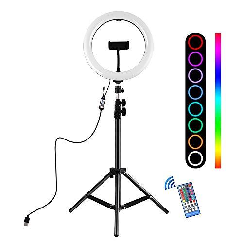 EcoGo 10 Pouces Ring Light avec Trépied, Anneau de Lumière pour Tiktok/Live Streaming/YouTube/Maquillage