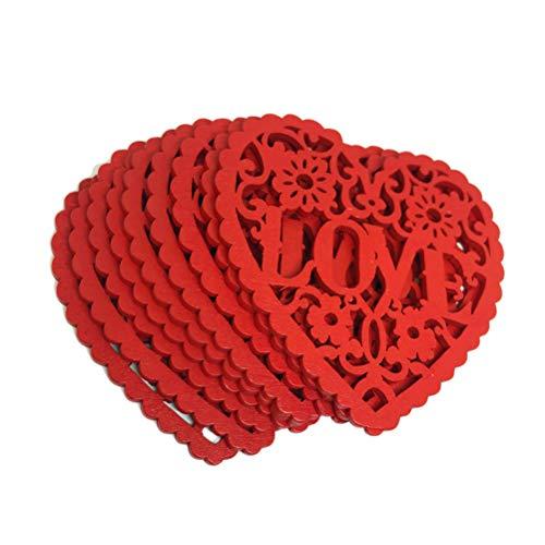 VORCOOL 30pcs Coeur en Bois décoration Bricolage Artisanat Suspendu Pendentif Ornement découpe Rouge Amour Coeur tranches disques pour Le Mariage de la Saint Valentin