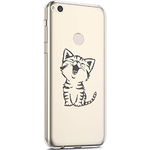 Surakey Cover Huawei P8 Lite 2017/P9 Lite 2017, Custodia Silicone Trasparente con Disegni Fiore Ciliegio Cartoon Ultra Sottile Leggero Protettiva Skin Crystal Clear Cover per Huawei P8 Lite 2017,Gatto