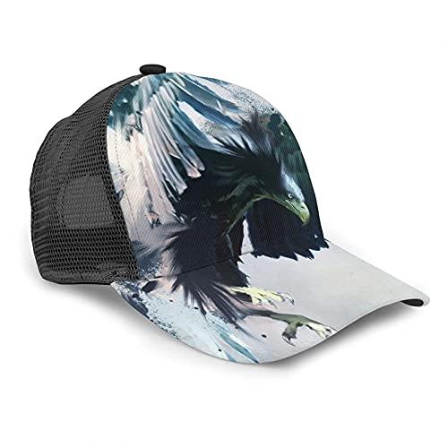 Gorra de béisbol unisex con diseño de águila de Aguilas con diseño de pájaro de presa de verano ajustable empalme Hip Hop gorra de sol negro
