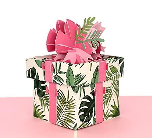 MOKIO® Kartka typu pop-up – prezent z kokardką – kartka podarunkowa 3D na urodziny, jako bon lub opakowanie prezentu pieniężnego, składana kartka na ślub