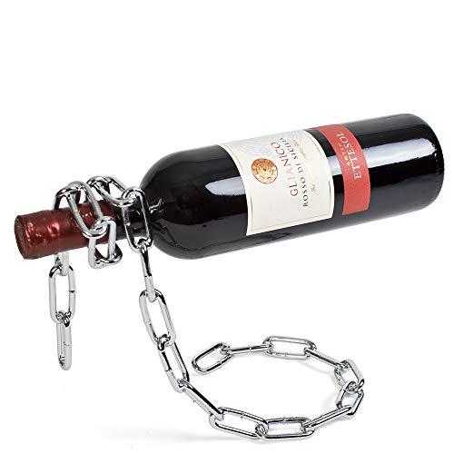 Monsterzeug Flaschenhalter Kette, Design Weinflaschenhalter, Magische Kette Weinständer, Geschenk für Weinliebhaber, Dekoration, Silber