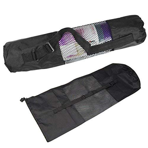 WIDERZONE Yoga Bag Mat Carry Exercise Mat Carrying Cover with Strap - Black, (Fit Upto 6mm Yoga mat)