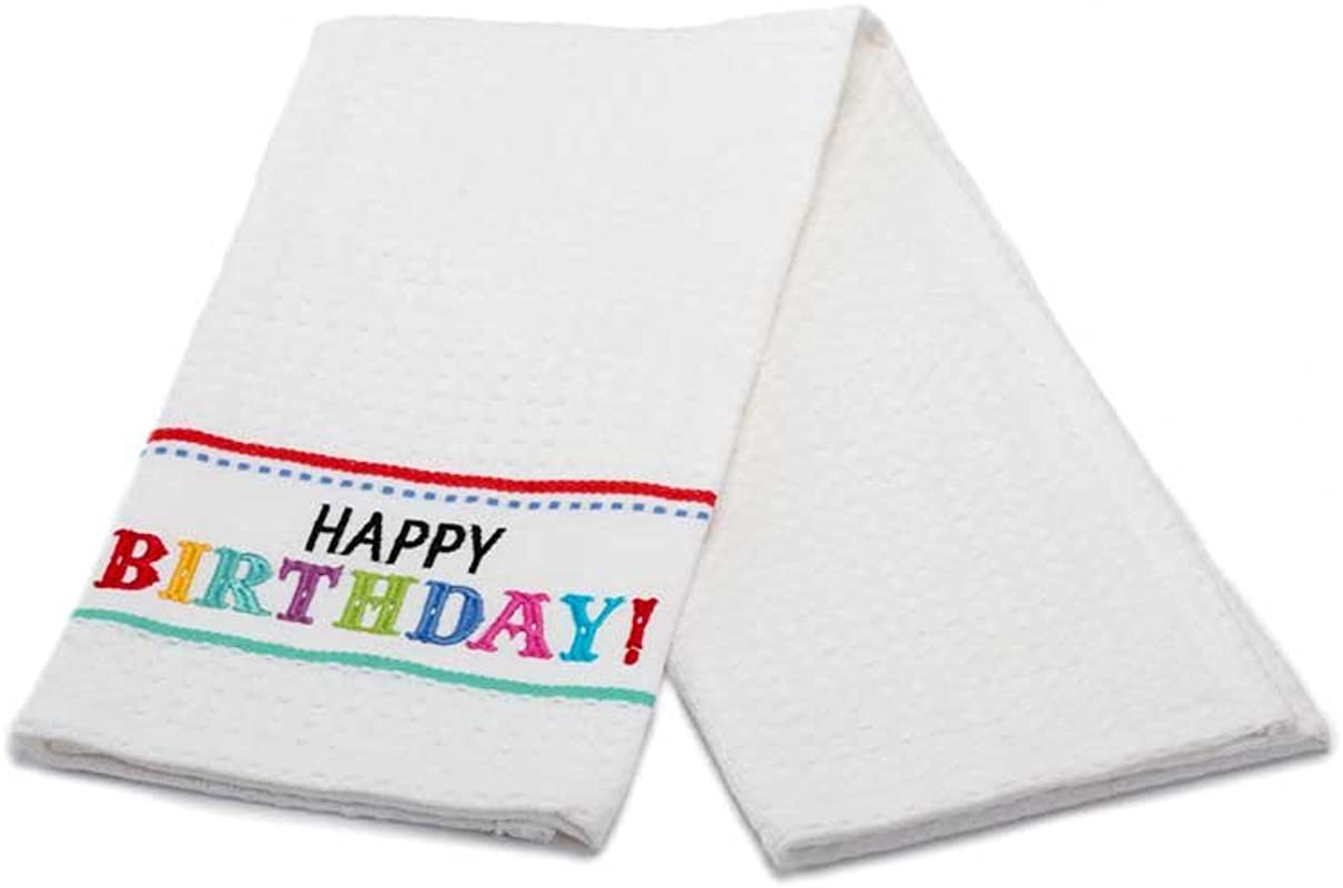 DII Happy Birthday Embroidered Kitchen Towel 100 Cotton 18 X 28 Inches 271412