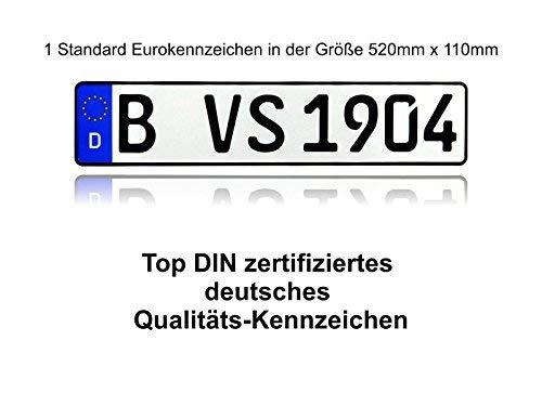 VooSale zertifizierte Eurokennzeichen in der Standard-Größe 520mm x 110mm mit ihrer Wunschprägung auch für Fahrradträger geeignet in Top Qualität (1 Kennzeichen)