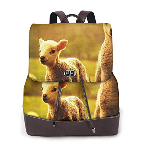SGSKJ Rucksack Damen Nettes Vieh kleines Baby Lamm, Leder Rucksack Damen 13 Inch Laptop Rucksack Frauen Leder Schultasche Casual Daypack Schulrucksäcke Tasche Schulranzen