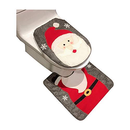 Muñeco de nieve navideño Papá Noel Ciervo Juego de funda y alfombra para inodoro Decoraciones navideñas rojas Baño