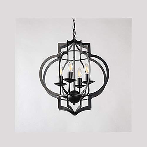 JZUKU Luces de Techo de araña Estilo Retro Industrial Linterna De La Lámpara Lámpara De Hierro Forjado En Forma De Vela De La Lámpara Decorativa