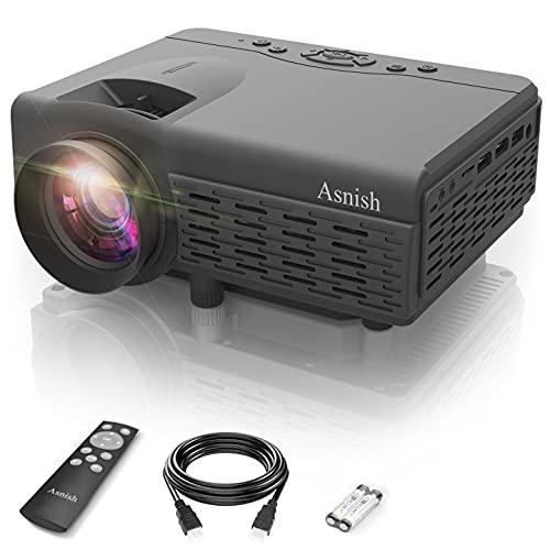 Asnish Proyector,Mini Proyector,Proyector doméstico con Bluetooth,Soporta 1080P Full HD, Proyector LED de 50000 Horas, Compatible con HDMI/USB/AV, TF/DCIN/VGA