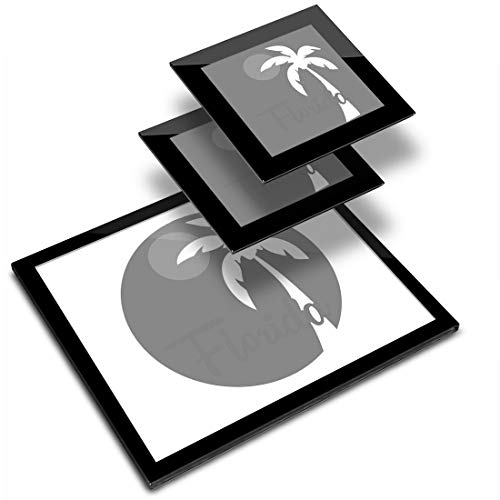 Destination 40178 - Mantel individual (vinilo, 20 x 25 cm, 2 posavasos de 10 x 10 cm), diseño de Florida Miami Beach Palm Tree USA