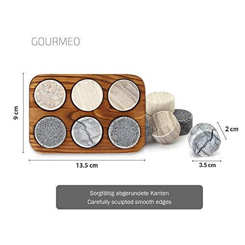 GOURMEO Whisky Steine (6 Stück) aus Marmor und Granit I wiederverwendbare Eiswürfel, Whiskysteine, Whisky Stones, Kühlsteine - 4