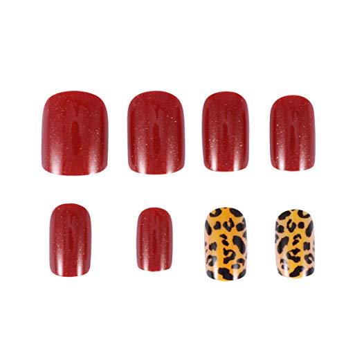 FRCOLOR 24 Piezas de Perlas de Leopardo con Estampado de Leopardo Uñas Postizas Cubierta Completa Consejos de Arte de Uñas Artificiales para Salón de Arte de Uñas