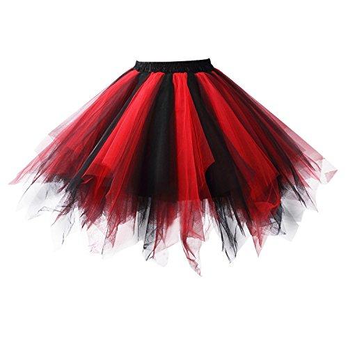 Honeystore Damen's Tutu Unterkleid Rock Abschlussball Abend Gelegenheit Zubehör Schwarz und Rot A520626120110