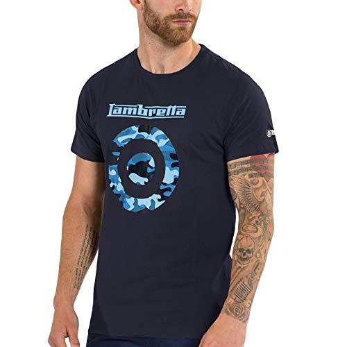 Lambreta - Camiseta de manga corta para hombre, diseño de camuflaje Azul azul marino M
