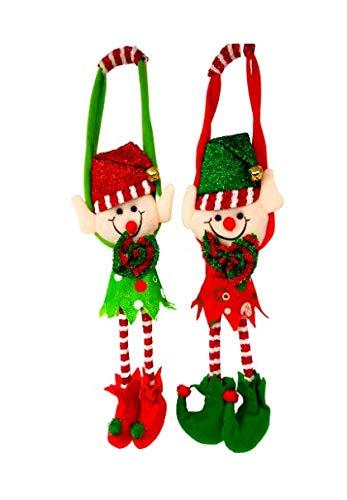 All Day Gifts Christmas Elves Plush Doorknob Hangers Set of 2 Fun Indoor Door Hanging Christmas Decorations
