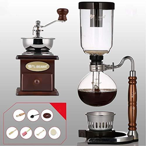 Manual Coffee Grinder -Siphon Cafetera Conjunto Sifón Sifón del zodiaco Totem Pot Cafetera 11 colores, 3 Copas, 110 * 352mm vacío Máquinas de café (Color: J) Haike (Color: D) WTZ012 (Color : E)
