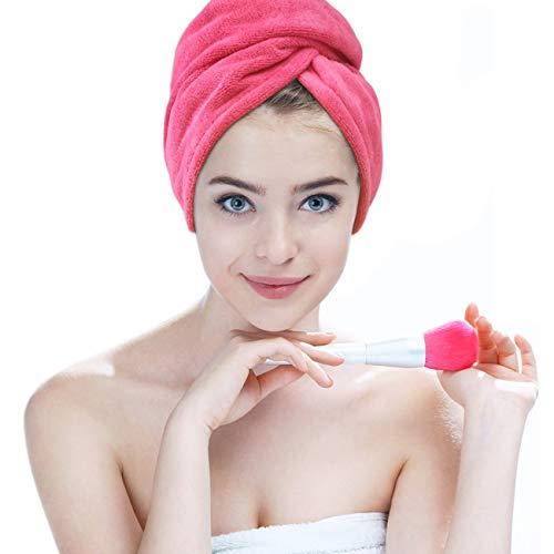 Hairizone Super Assorbente Capelli Asciugamano in Microfibra ad Asciugatura Rapida Capelli Turbante Wrap per Ragazze, ROSEO