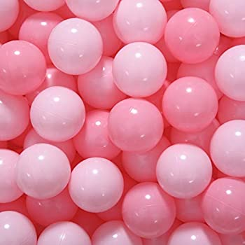 COLOBOBO Play Ball Pit Balls for Kids - Plastic 2.36inches 50pcs Balls for Toddlers Ball Pit Play Tent and Pool  Pink&Light Pink